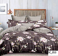 Сатиновое двуспальное постельное белье Lux - белые цветы