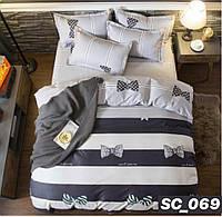 Сатиновое двуспальное постельное белье Lux - бантик