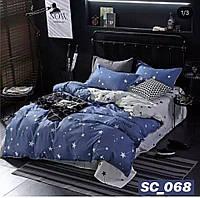 Сатиновое двуспальное постельное белье Lux - звезды