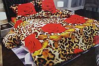 """3D Полуторное постельное белье """"София"""" розы на леопарде"""