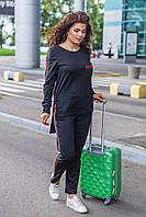 Женский трикотажный костюм черного цвета Размер 48 50 52 54 56 58 60 62, фото 1