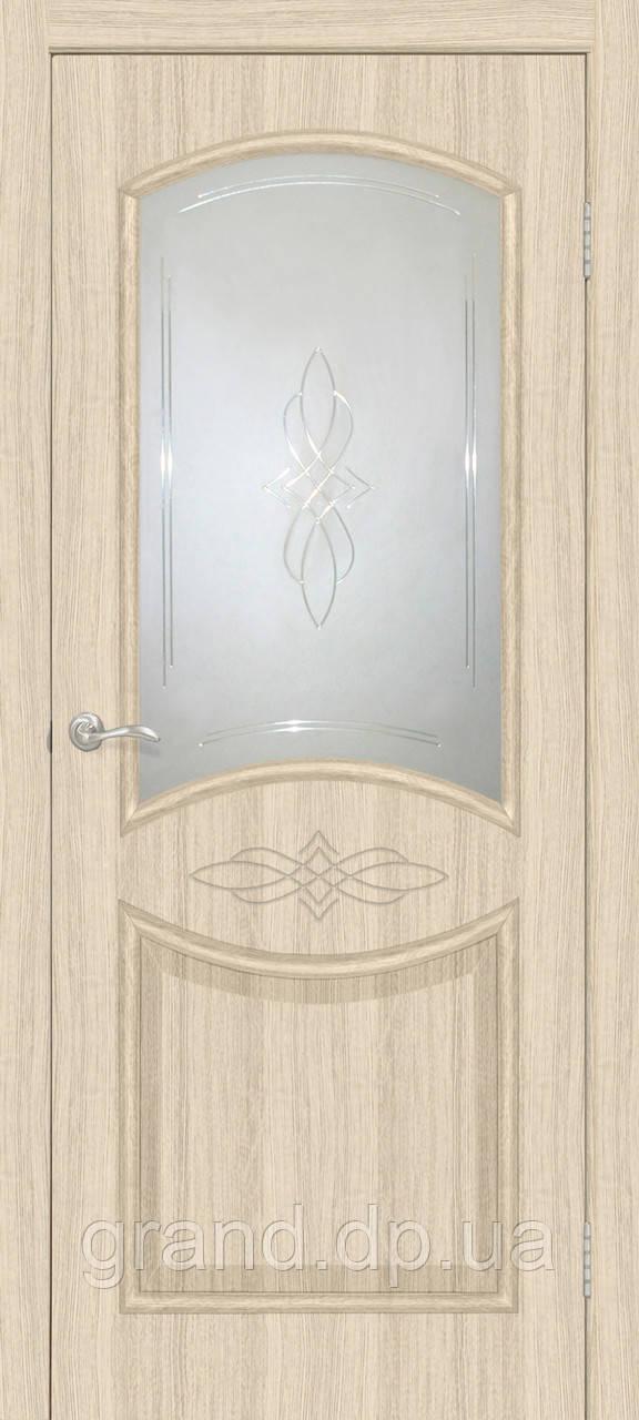 """Двери межкомнатные Омис Даниэлла СС+КР ПВХ"""" с рисунком на стекле, цвет дуб беленый"""
