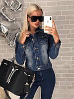 Классическая коротка куртка джинсовая, фото 1