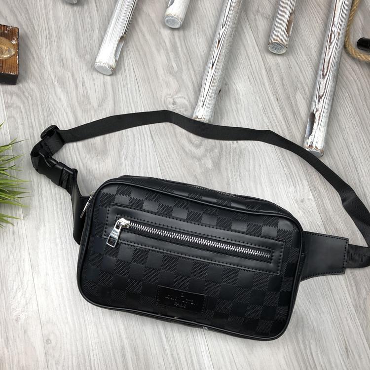 Брендовая Мужская бананка Louis Vuitton черная Турция Качество поясная сумка на пояс Модная Луи Виттон реплика