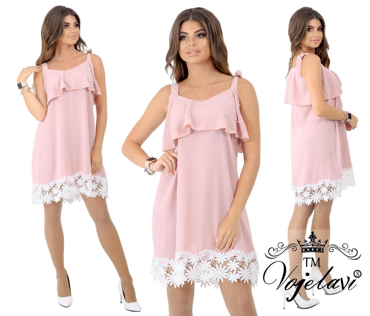 Короткое женское шёлковое платье с отделкой кружева декорировано жемчугом 42,44, 46