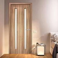 Двери межкомнатные Омис  Ника СС+КР  ПВХ с матовым стеклом и контурным рисунком, цвет дуб золотой
