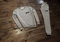 Демисезонный серый мужской спортивный костюм, чоловічий спортивний костюм UFC, ЮФС, Реплика