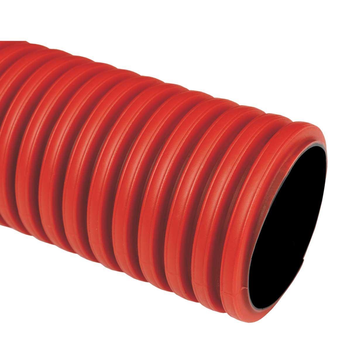 Труба гофрована жорстка двошарова Коподур, червона, протяжка, ; Ø200мм; поліетилен HDPE; довжина 6 м