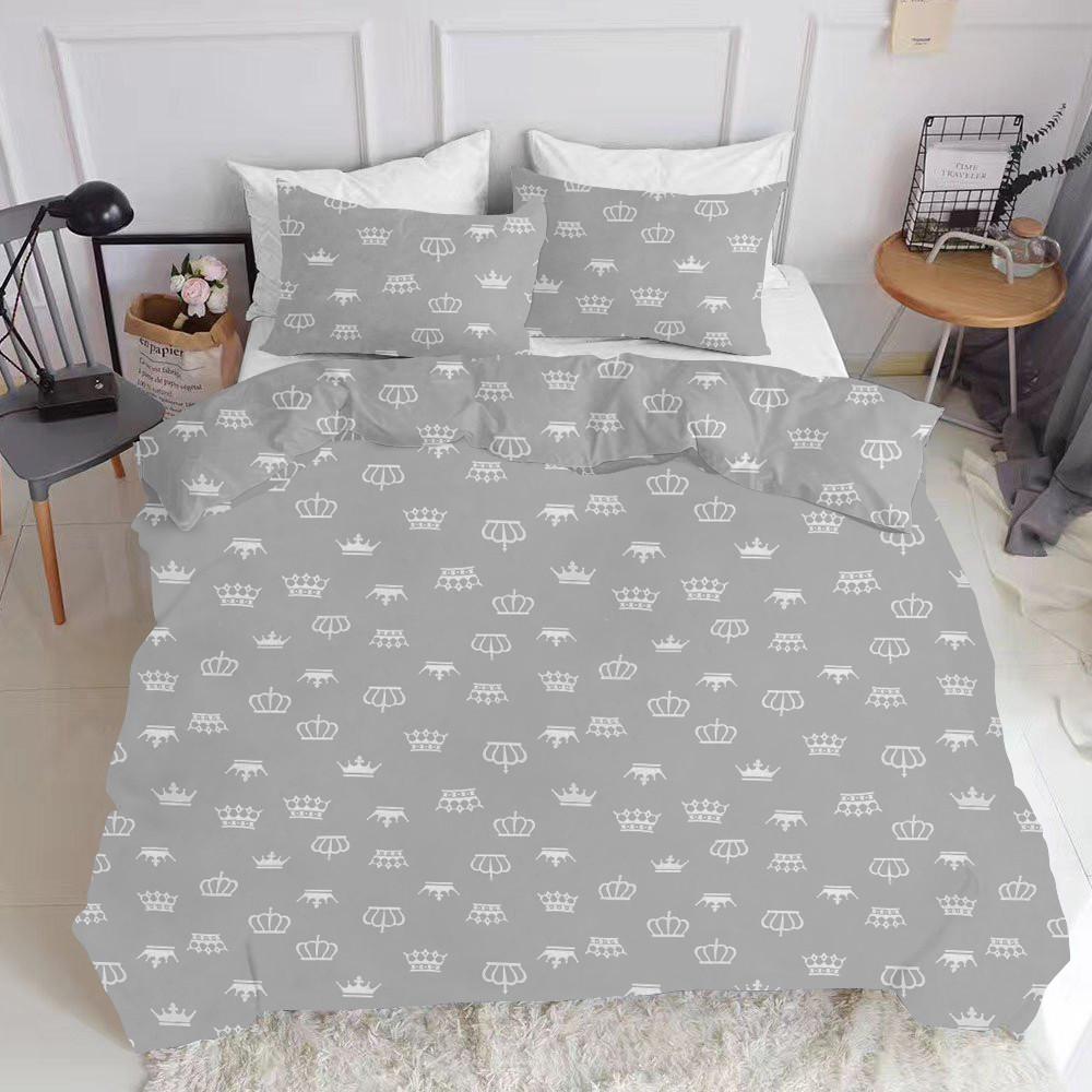 Комплект полуторного постельного белья CROWN GREY WHITE