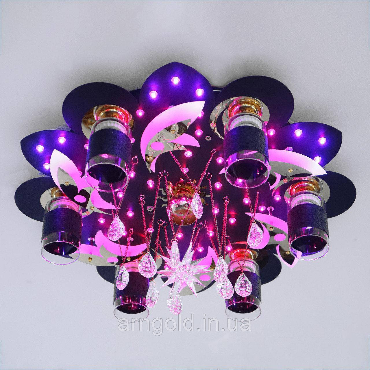 Люстра RGB LED Космос 5-70118/6+1 D600 BK