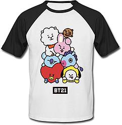 """Футболка BTS Bangtan Boys """"BT21"""" (біла з чорними рукавами)"""