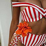Купальник женский раздельный в полоску с высокой талией и шнуровкой,  размер S (белый с красным), фото 3