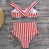 Купальник женский раздельный в полоску с высокой талией и шнуровкой,  размер S (белый с красным), фото 4