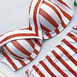Купальник женский раздельный в полоску с высокой талией и шнуровкой,  размер S (белый с красным), фото 5