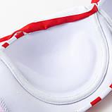 Купальник женский раздельный в полоску с высокой талией и шнуровкой,  размер S (белый с красным), фото 7