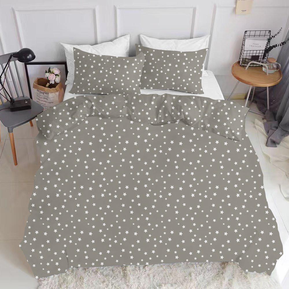 Комплект полуторного постільної білизни STARS WHITE GREY