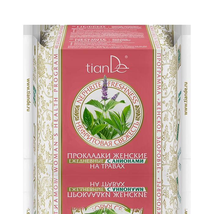 Прокладки женские Тианде на травах «Нефритовая свежесть» ежедневные с анионами, 20 шт