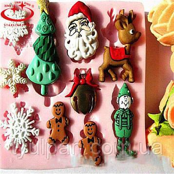 Молд силиконовый  новогодний елочка дед мороз 2