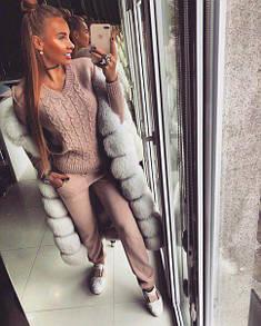 Теплый вязаный женский костюм с шерстью 18ks158