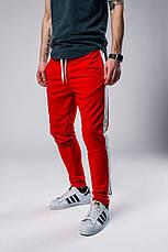 Мужские спортивные штаны с лампасами красного цвета, фото 2