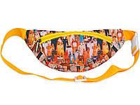 Оранжевая сумка-бананка для детей с ярким принтом