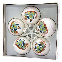 Набор елочных игрушек - шары, 5 шт, D6 см, белый, матовые с росписью, стекло (390410-1)