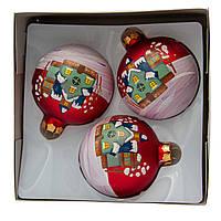 Набор елочных игрушек - новогодние шары, 3 шт, D8 см, матовые с росписью, красный, стекло (390427-3)