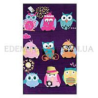 Яркое пляжное полотенце Совы Owls Family, Фиолетовый, 75х150