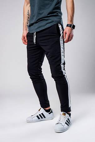 Мужские спортивные штаны с лампасами черного цвета, фото 2