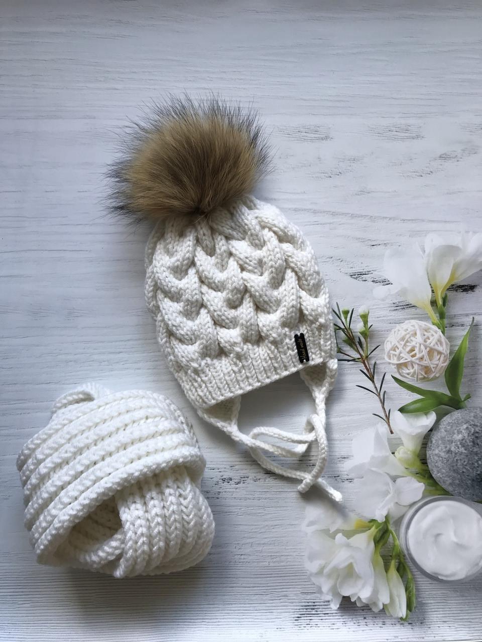 Зимняя шапка и хомут. Ручная вязка.