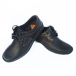 Черные туфли мокасины Detta на шнурках