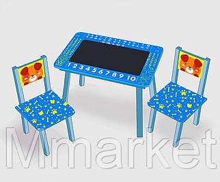 """Столик мини """"Собачка""""с меловой поверхностью + 2 стульчика, цвет голубой С 105 (60*46 см)"""