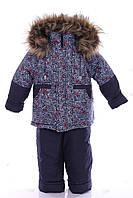 Зимний костюм для мальчика Классика с рисунком синий с пауком