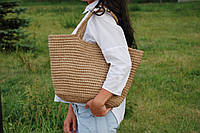 Большая  плетеная эко сумка - шопер с джута, ручной работы