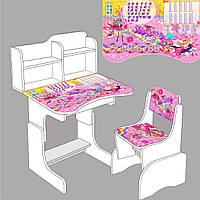 """Парта школьная """"Супер барби"""" ЛДСП ПШ 008 (69*45 см), цвет белый + 1 стул"""