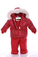Зимний костюм с меховой подстежкой Ноль Красный бантик