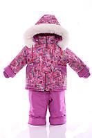 Зимний костюм с меховой подстежкой Ноль Розовый с сердечками