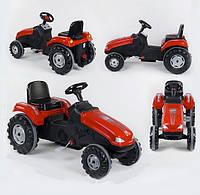 Трактор педальный 07-321 RED, клаксон на руле, сидение регулируемое, колеса с резиновыми накладками
