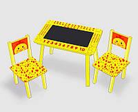"""Столик мини """"Цыпленок""""с меловой поверхностью + 2 стульчика, цвет желтый С 082 (60*46 см)"""
