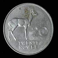 Монета Замбии 20 нгве 1972 г.