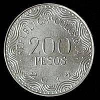 Монета Колумбии 200 песо 2014 г. Красный ара