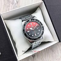 Мужские кварцевые часы Rolex Submariner Quarts серебро с красно-черным циферблатом (08140) копия, фото 1