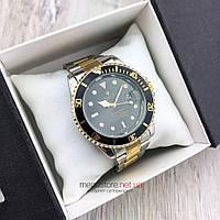 Мужские кварцевые часы Rolex Submariner Quarts золото-сталь с черным циферблатом (08144) копия
