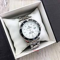 Мужские кварцевые часы Rolex Submariner Quarts сталь с белым циферблатом (08145) копия