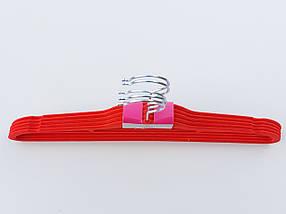 Плечики длина 41,5 см, в упаковке 5 штук, красного цвета, тремпеля вешалки флокированные, фото 2