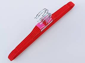 Плечики длина 41,5 см, в упаковке 5 штук, красного цвета, тремпеля вешалки флокированные, фото 3