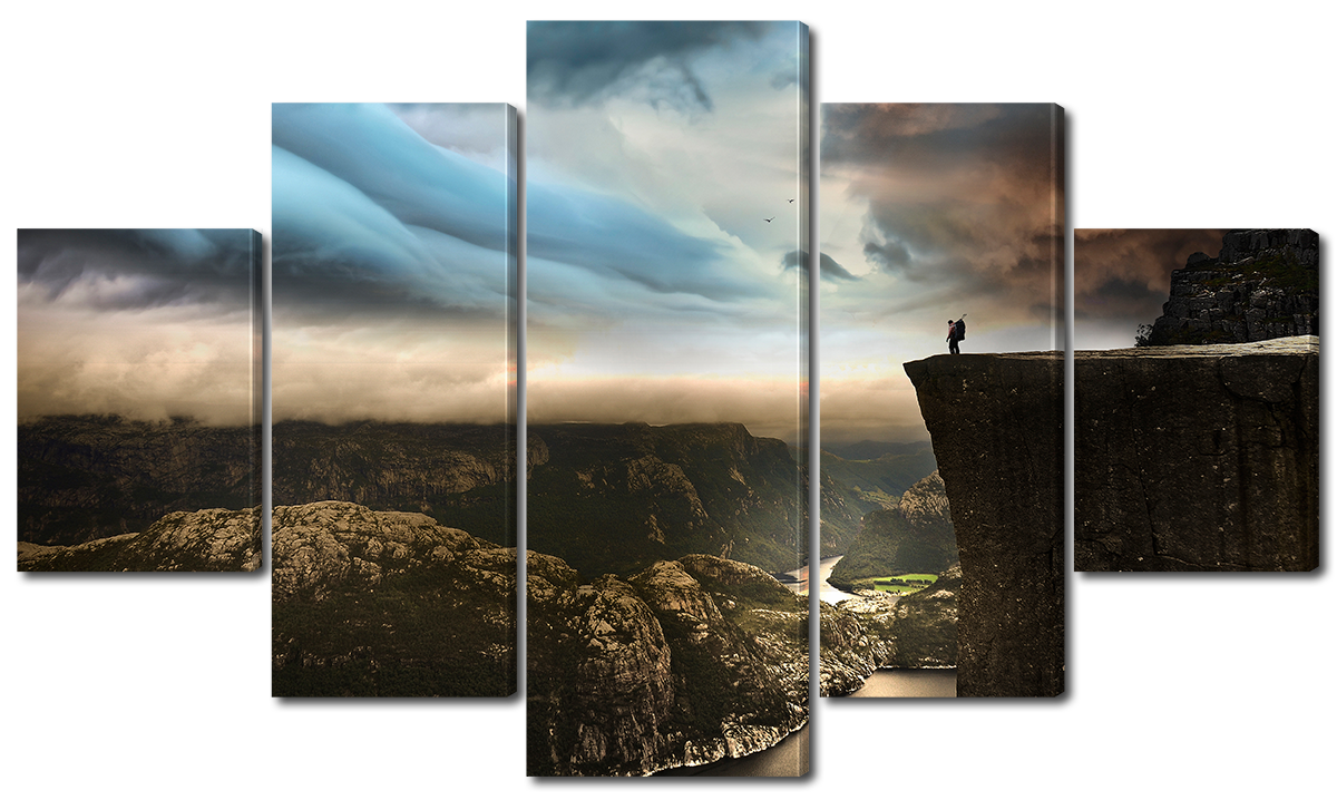 Модульная картина Interno Эко кожа На краю скалы  142х80см (A1114L)