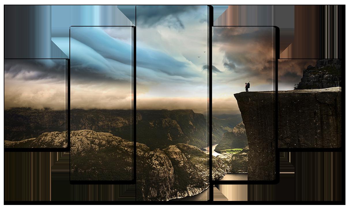 Модульная картина Interno Эко кожа На краю скалы 185х106см (A1114XXL)