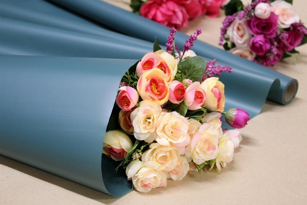 Калька для цветов - матовая флористическая пленка 70см*10м Океан