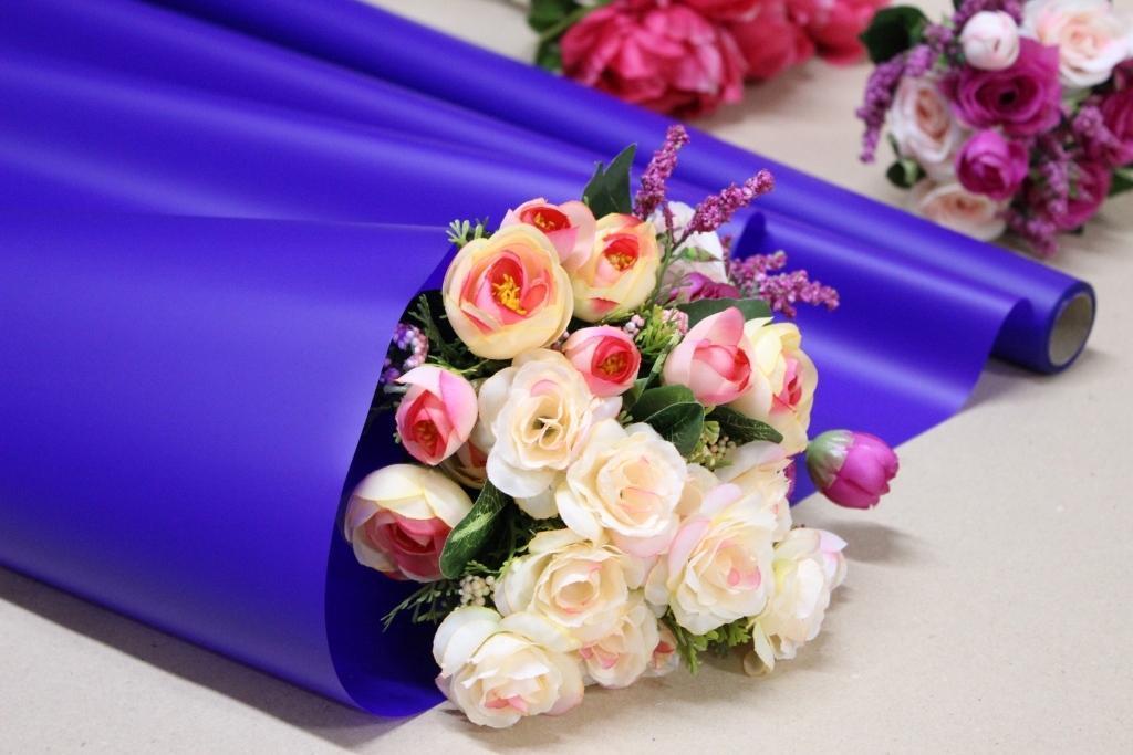 Калька для цветов - матовая флористическая пленка 70см*10м Синяя